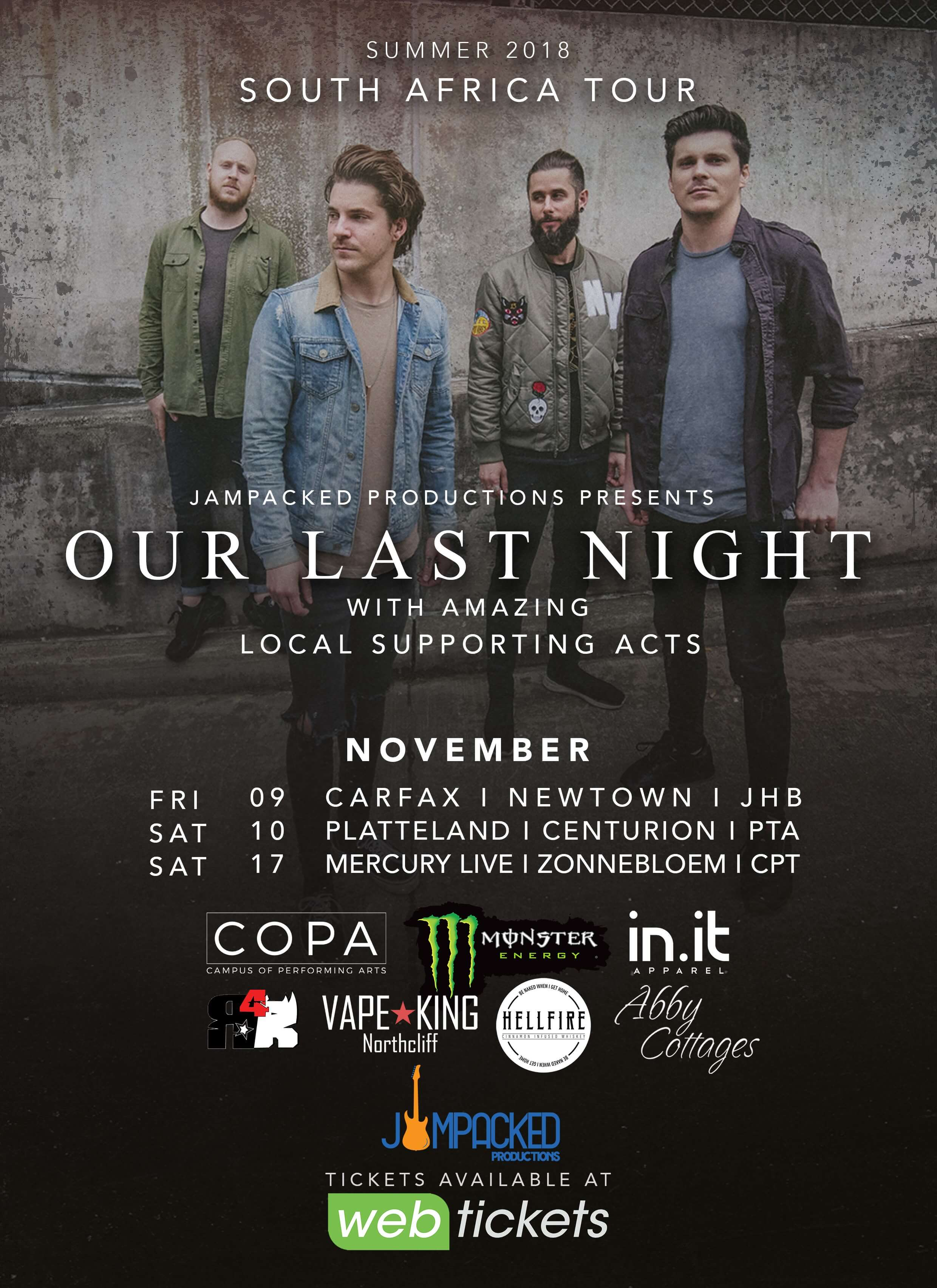 Our Last Night Announce Their Return To South Africa Plug Music Agency